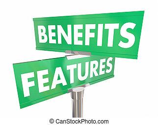 направление, benefits, features, преимущество, два, иллюстрация, знак, продукт, путь, дорога, 3d