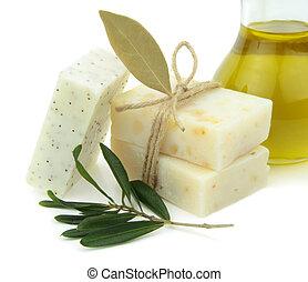 натуральный, мыло, with, оливковый