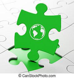 наука, concept:, земной шар, на, головоломка, задний план