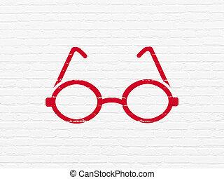 наука, concept:, glasses, на, стена, задний план