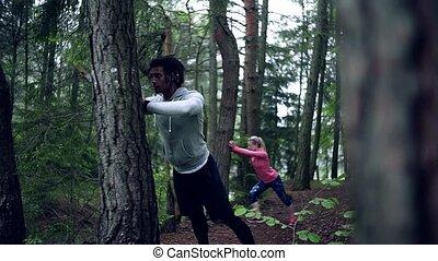 на открытом воздухе, упражнение, дерево, пара, stretching.,...