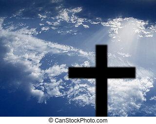 небо, пересекать, против