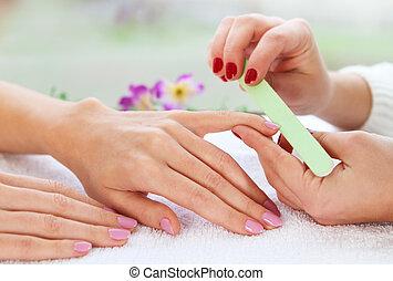 нежный, забота, of, nails, в, , красота, салон