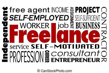 независимый, слово, коллаж, консультант, внештатно, работник, контракт, наемный рабочий