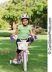 немного, девушка, with, ее, велосипед