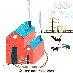 немного, деревня, дом, сельский, пейзаж, with, лес, and, cows, на, белый