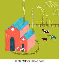немного, деревня, дом, сельский, пейзаж, with, лес, and, cows, на, зеленый