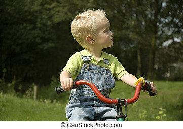немного, дитя, на, велосипед