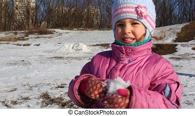 немного, игры, девушка, снег
