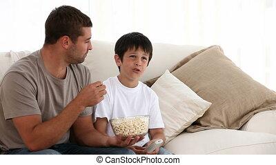 немного, милый, телевидение, наблюдение, мальчик