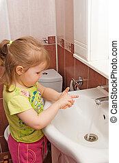 немного, руки, девушка, washes