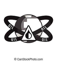 нефть, промышленность, symbol., квартира, вектор, иллюстрация