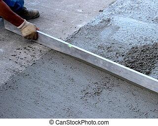 нивелирование, свежий, бетон