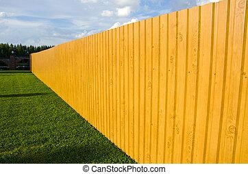 новый, деревянный, забор, в, ферма