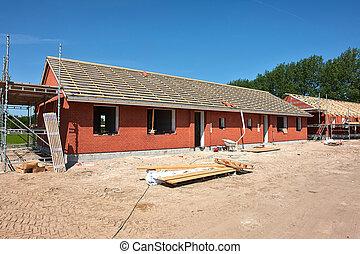 новый, жилой, главная, дом, строительство