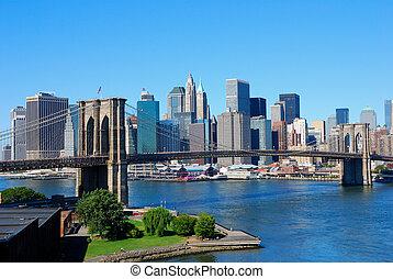 новый, йорк, город, линия горизонта