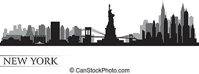 новый, йорк, город, линия горизонта, подробный, силуэт