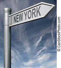 новый, йорк, государство, или, город, дорога, знак, usa,...
