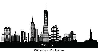 новый, йорк, линия горизонта