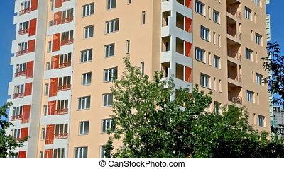 новый, квартира, здание, из, дно, к, вверх, with, синий,...