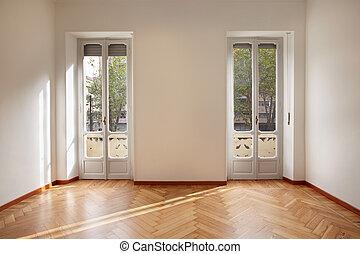 новый, квартира, современное, комната, пустой