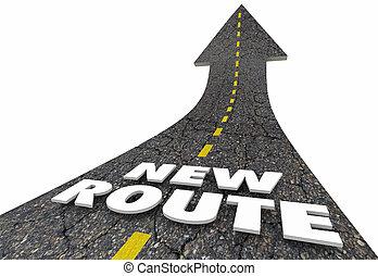новый, маршрут, words, дорога, стрела, изменение, курс, 3d, иллюстрация
