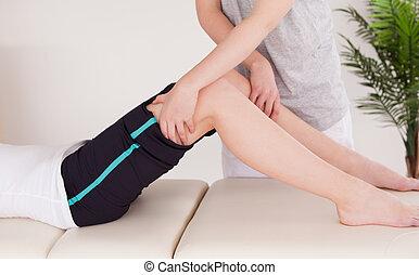 нога, having, массаж, женщина, молодой