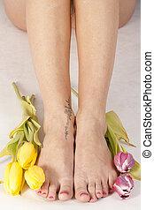 ноги, tulips