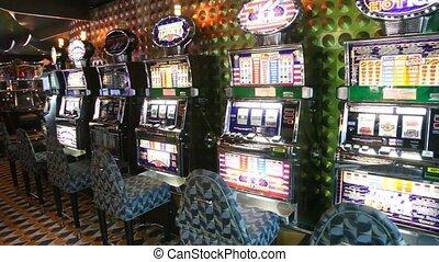 номер, of, слот, machines, with, пустой, chairs, в, казино