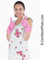 носить, женщина, giving, вверх, ластик, gloves, thumbs