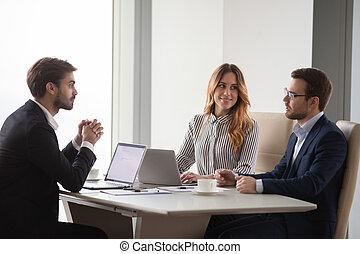 носить, colleagues, прослушивание, брифинг, бизнесмен, glasses