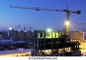 ночь, кран, строительство, сайт, погрузчик