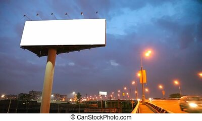 ночь, мост, в, город, with, перемещение, легковые...