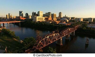 нэшвилл, теннесси, в центре города, город, линия горизонта,...