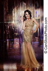 обаятельный, dress., желтый, elegance., вечеринка, леди,...