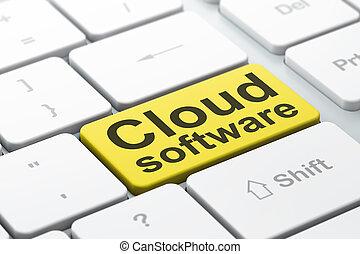 облако, вычисления, concept:, облако, программного обеспечения, на, компьютер, клавиатура, задний план
