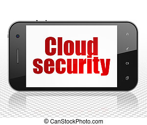 облако, вычисления, concept:, смартфон, with, облако, безопасность, на, дисплей