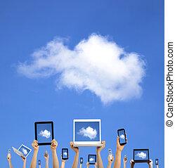 облако, вычисления, concept.hands, держа, компьютер, портативный компьютер, умная, телефон, таблетка, and, трогать, подушечка
