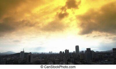 облако, над, high-rise., buildings, город