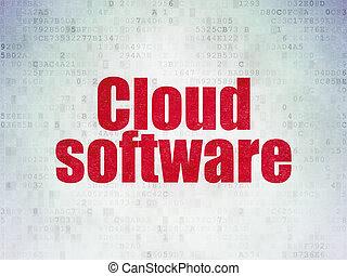 облако, сетей, concept:, облако, программного обеспечения, на, цифровой, данные, бумага, задний план