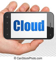 облако, сетей, concept:, рука, держа, смартфон, with, облако, на, дисплей