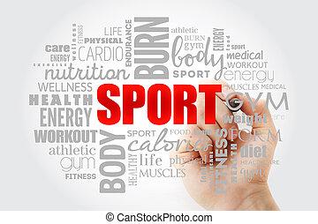 облако, слово, фитнес, спорт