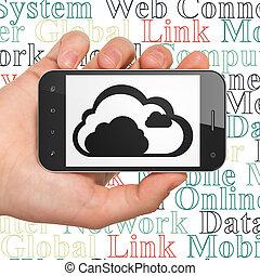 облако, технологии, concept:, рука, держа, смартфон, with, облако, на, дисплей