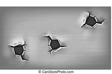 оборванный, металл, holes, три