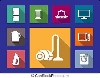 оборудование, домашнее хозяйство, задавать, квартира, icons