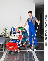 оборудование, человек, уборка, молодой
