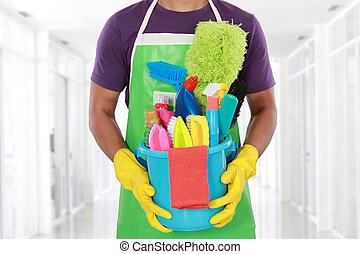 оборудование, человек, уборка, портрет