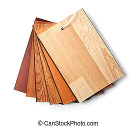образец, пакет, of, деревянный, напольное покрытие, ламинат