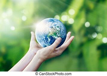 образ, руки, держа, elements, земля, nasa, меблированный, защищать, природа, задний план, это