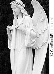 образ, of, ангельский, скульптура, держа, , пересекать